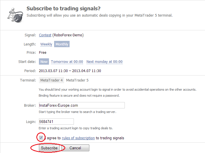 subscribe signals