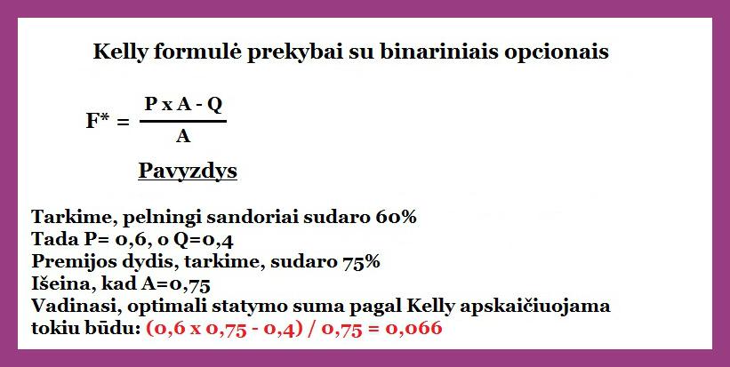 kelly formule binariniams opcionams